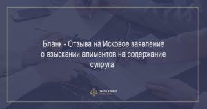 Бланк - Отзыва на Исковое заявление о взыскании алиментов на содержание супруга